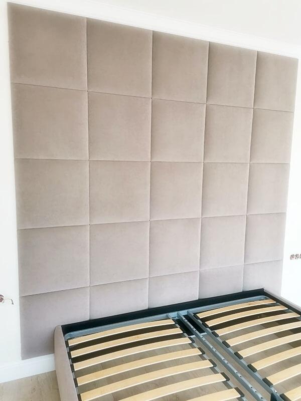 """Мягкая стеновая панель - изголовье кровати """"в квадрат"""""""