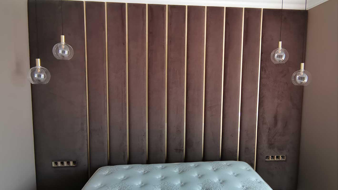 Мягкая стеновая панель МСП-13 шириной в торцевую стену спальни
